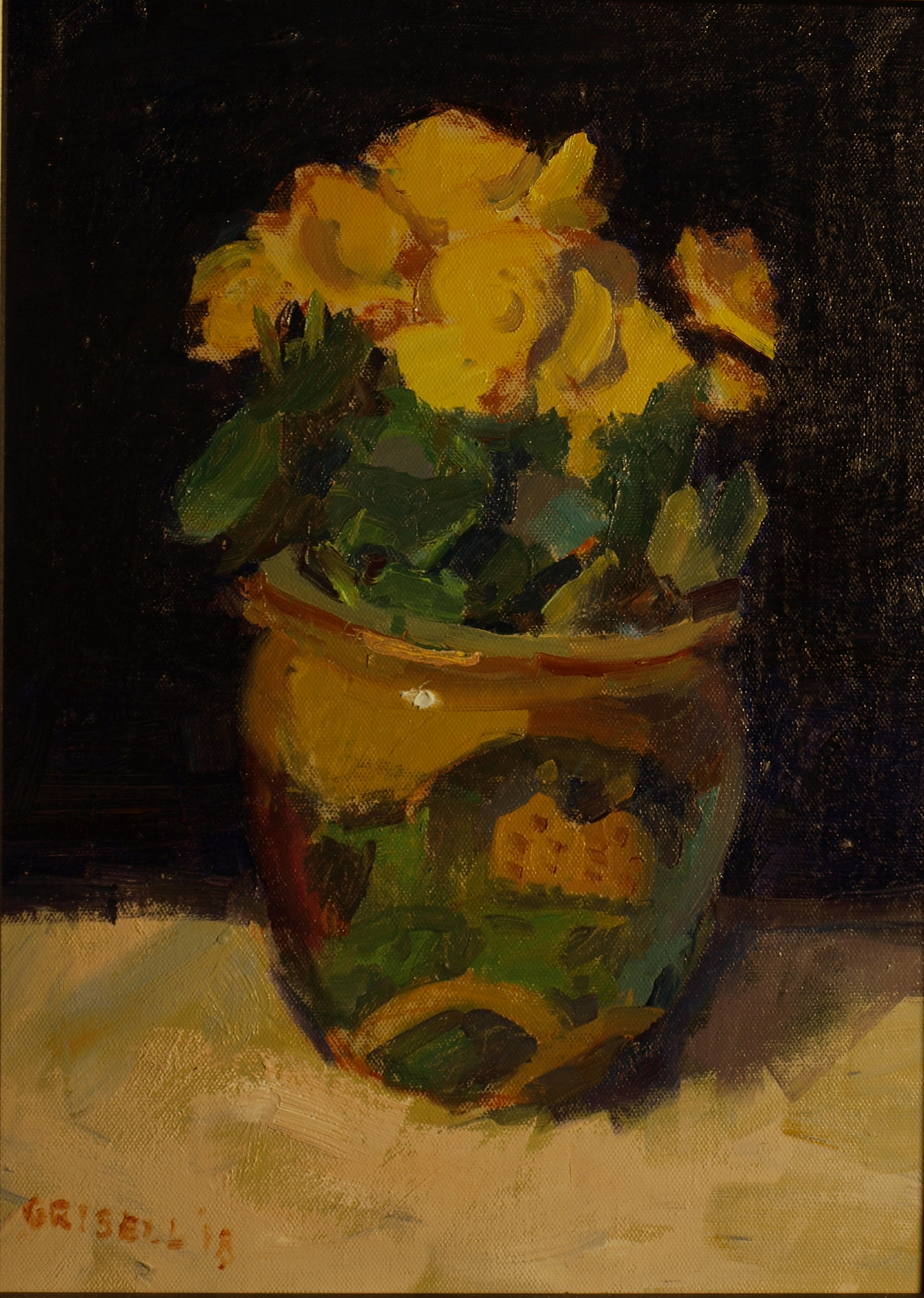 Rieger Begonia, Oil on Panel, 16 x 12 Inches, by Susan Grisell, $300