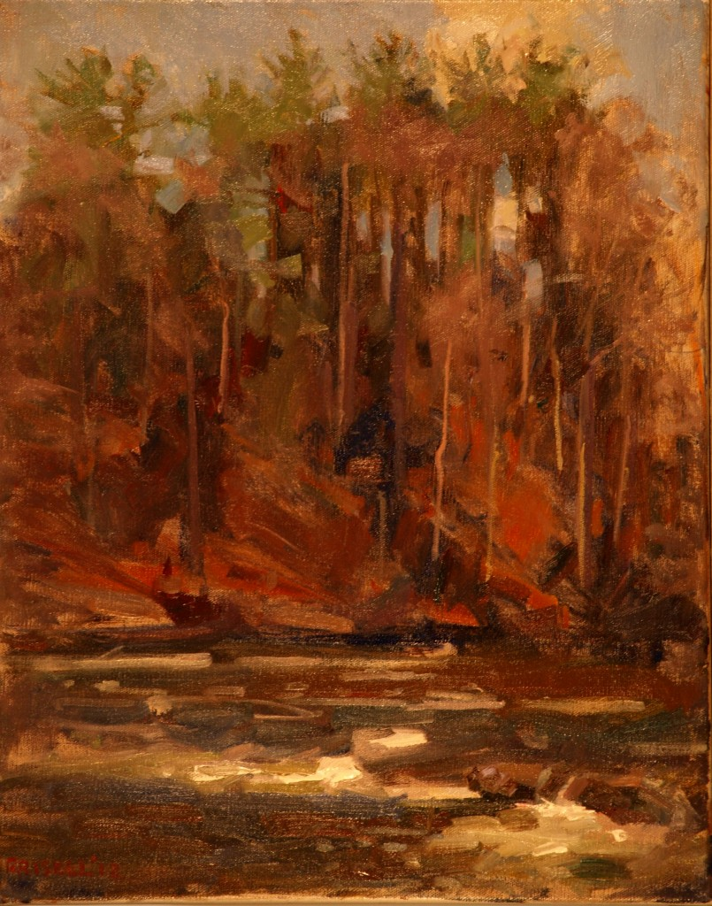 River and Pines, Oil on Canvas, 20 x 16 Inches, by Susan Grisell, $450