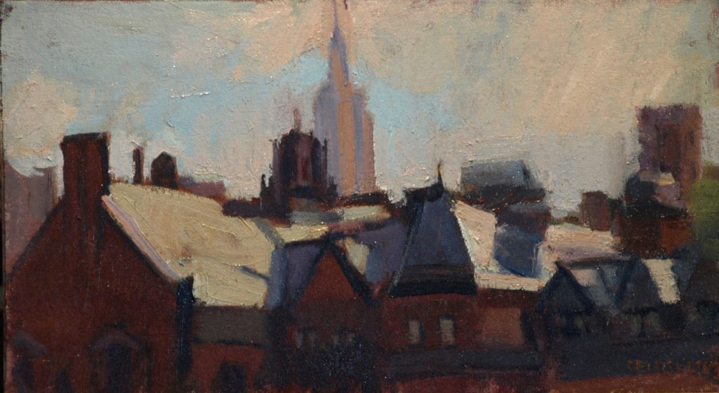Rooftops -- New York, Oil on Canvas on Panel, 9 x 16 Inches, by Susan Grisell, $250