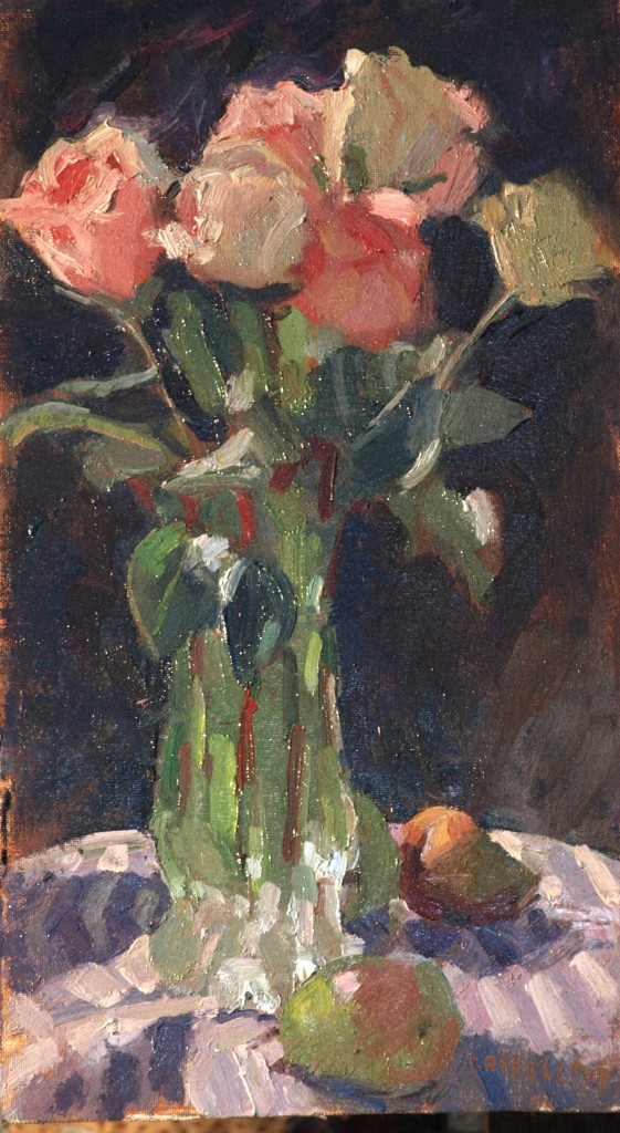 Roses and Pears, Oil on Canvas on Panel, 16 x 9 Inches, by Susan Grisell, $250