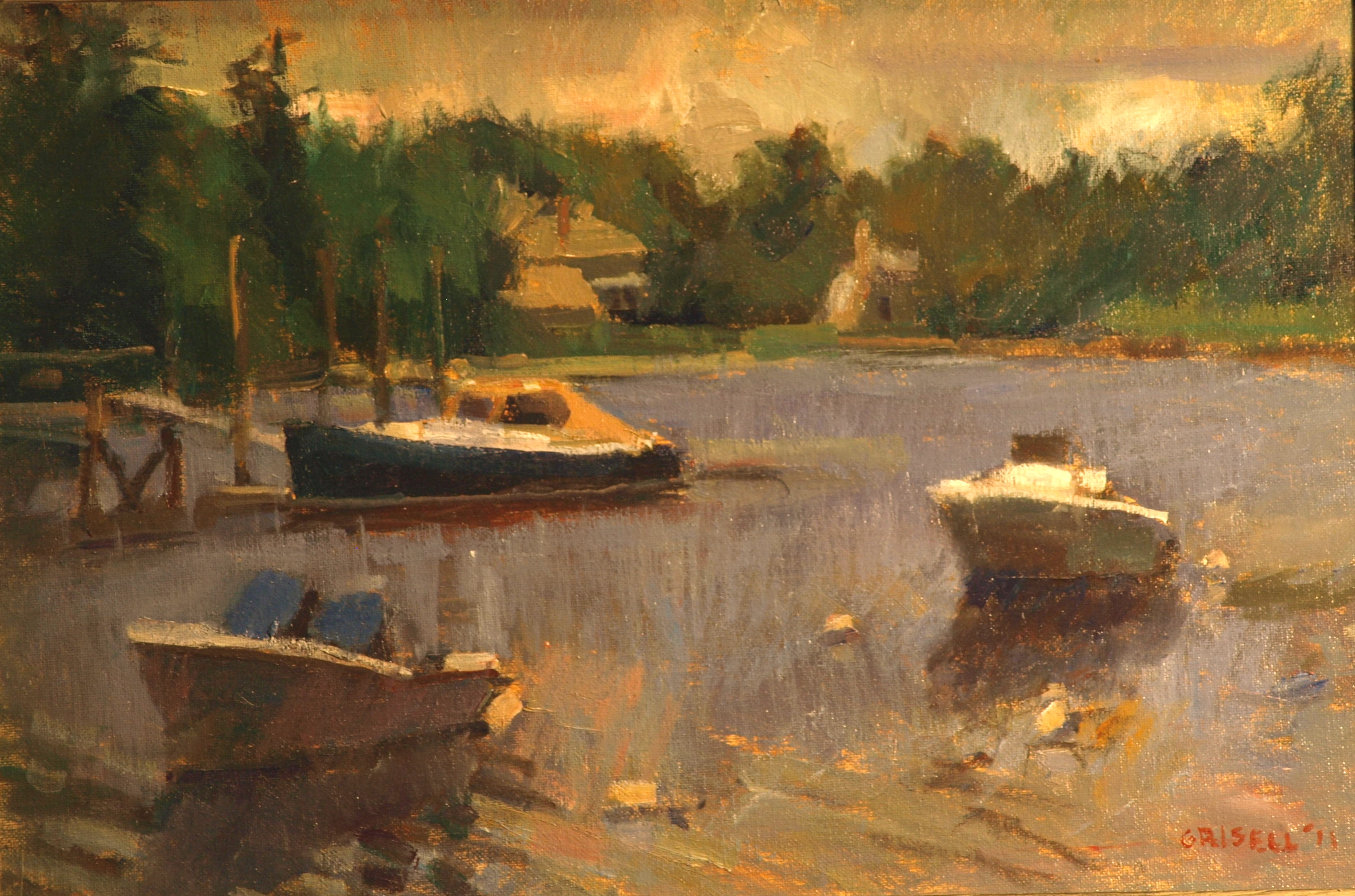 Rowayton Marina, Oil on Canvas on Panel, 12 x 18 Inches, by Susan Grisell, $275