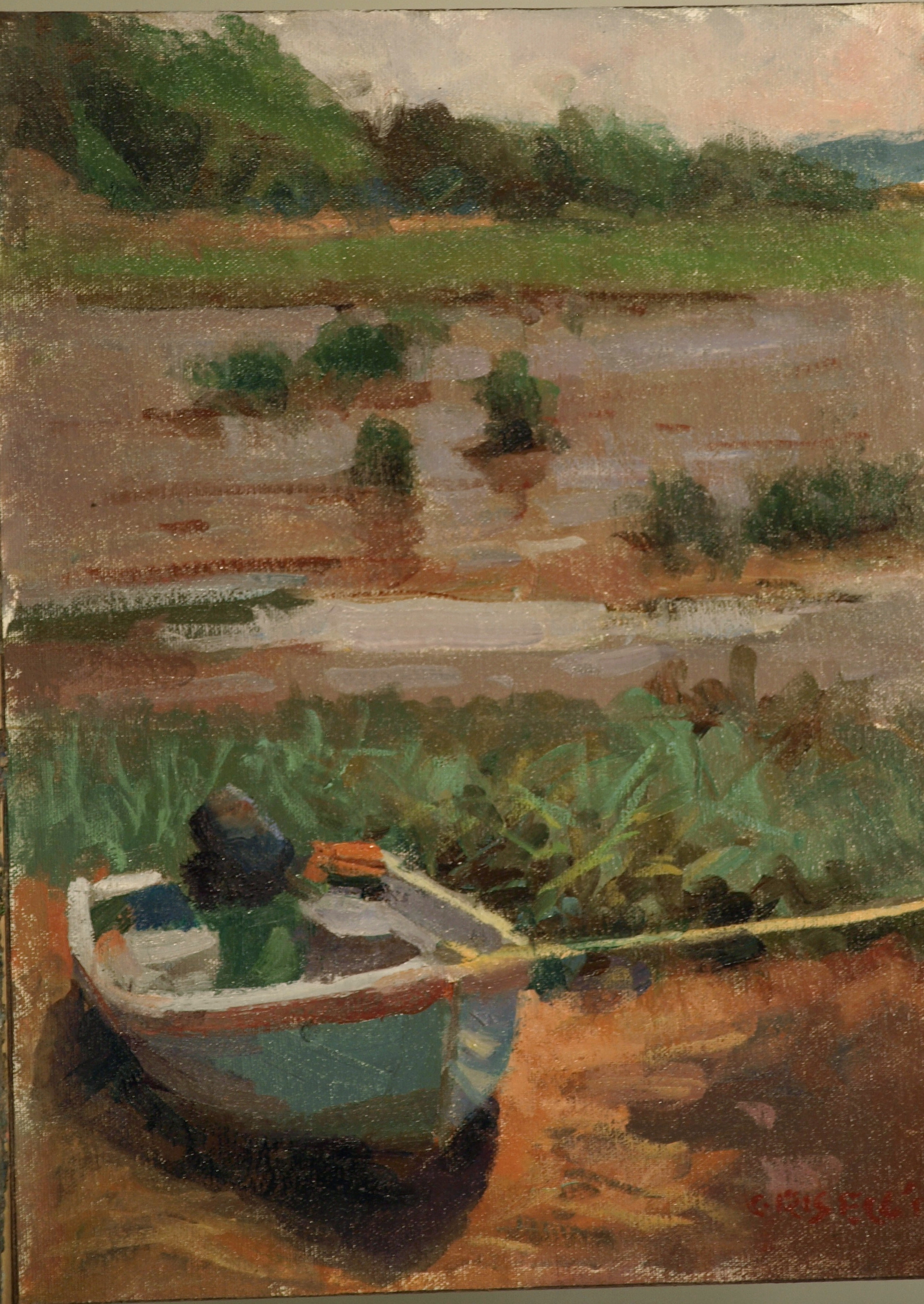 Rowboat, Oil on Canvas on Panel, 16 x 12 Inches, by Susan Grisell, $275