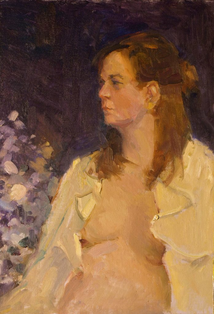 Ruffled Shirt, Oil on Canvas on Panel, 16 x 12 Inches, by Susan Grisell, $325