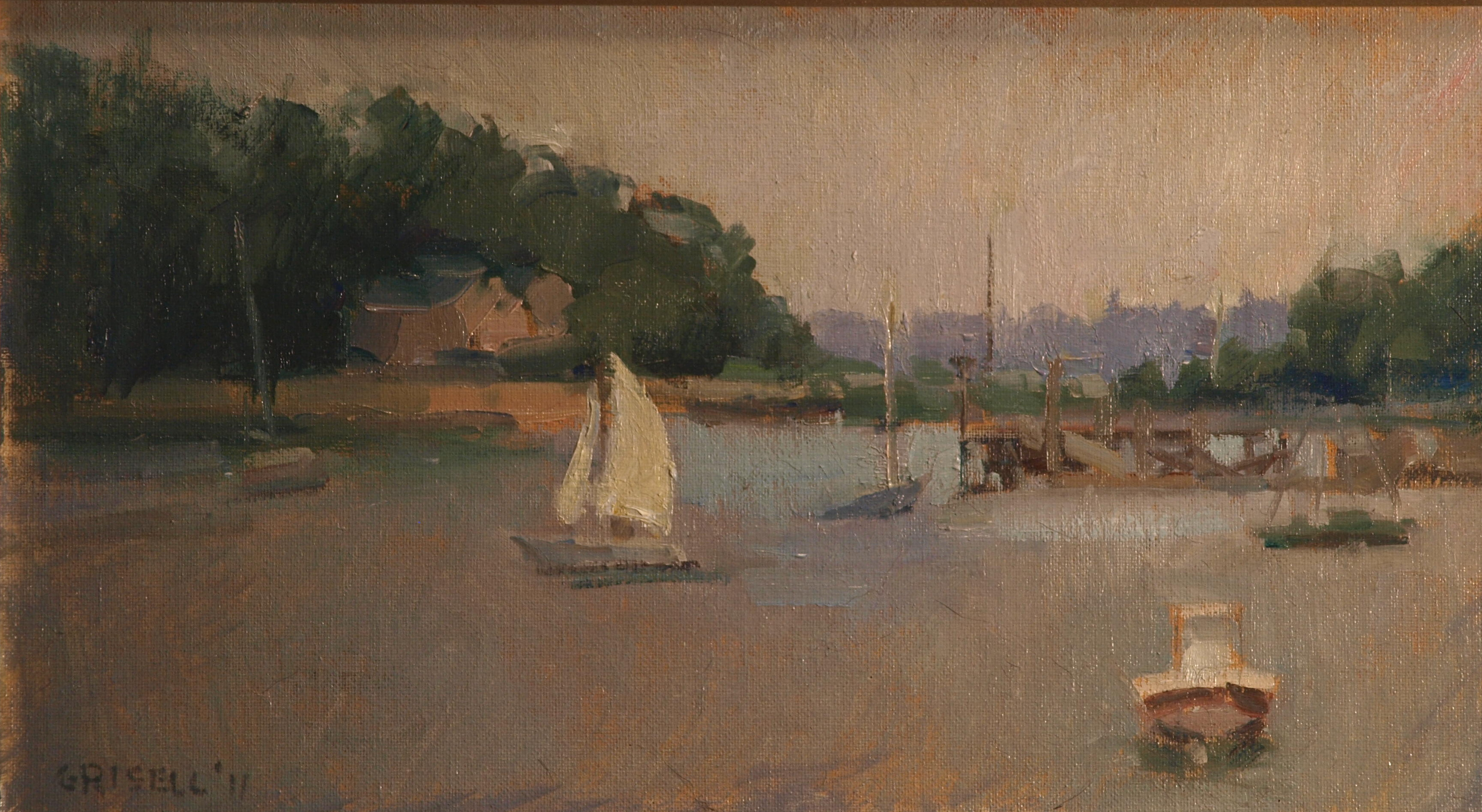 Sailboat - Darien, Oil on Canvas on Panel, 9 x 16 Inches, by Susan Grisell, $250