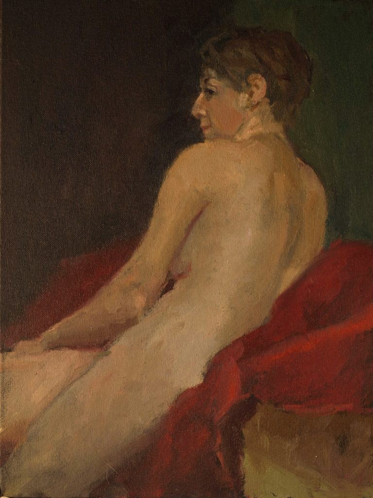 Seated Nude, Oil on Canvas on Panel, 16 x 12 Inches, by Susan Grisell, $325