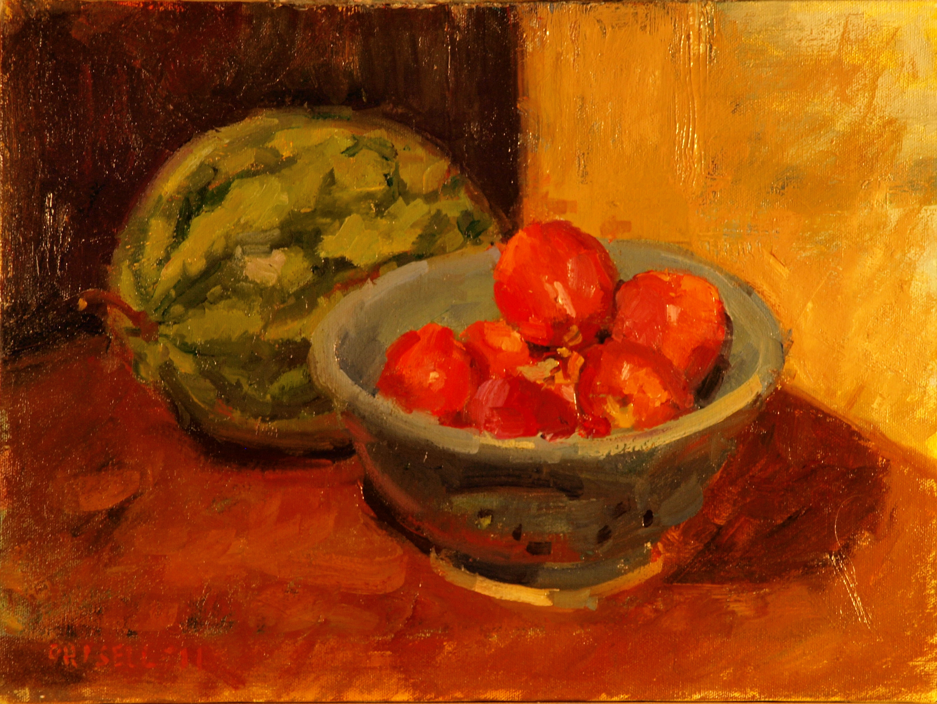 September Still Life, Oil on Canvas, 12 x 16 Inches, by Susan Grisell, $275
