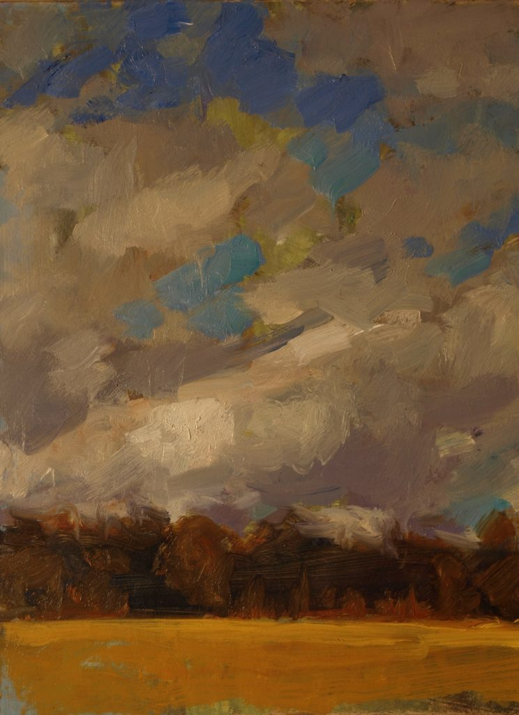 Sky and Treeline, Oil on Panel, 10 x 8 Inches, by Susan Grisell, $200