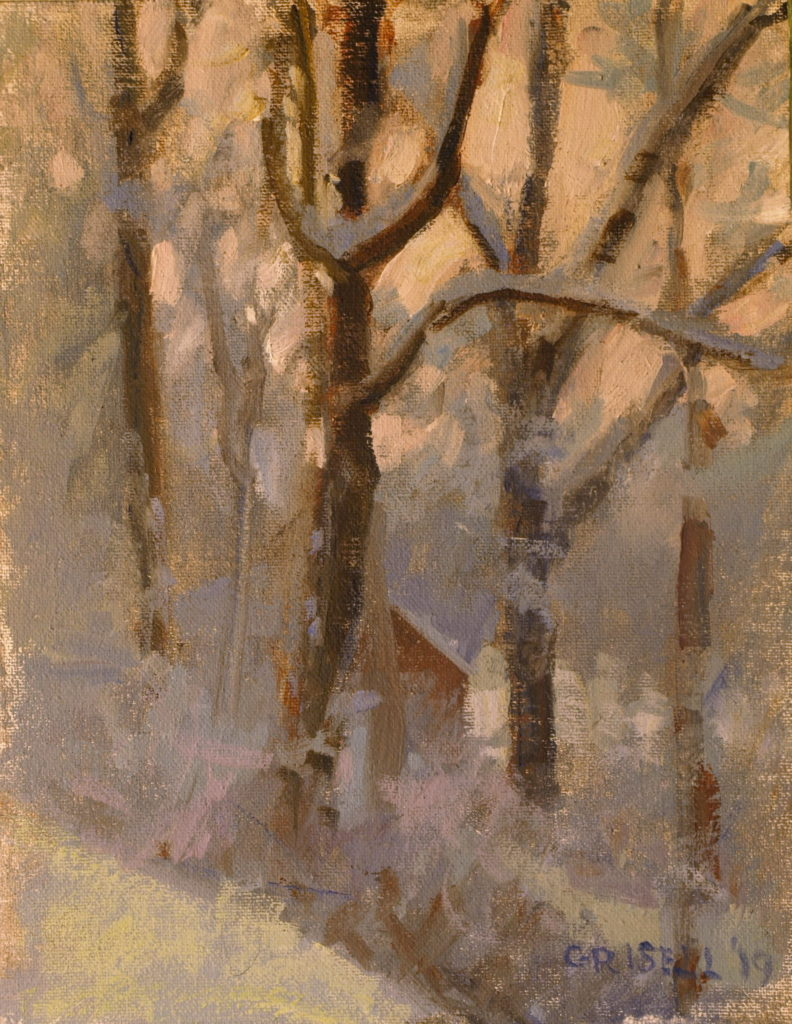 Snow Covered Trees, Oil on Canvas on Panel, 10 x 8 Inches, by Susan Grisell, $200