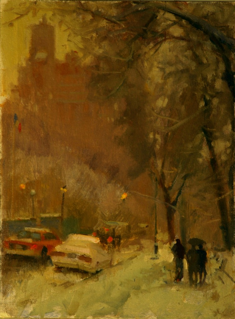 Snowy Day - New York, Oil on Canvas on Panel, 16 x 12 Inches, by Susan Grisell, $275