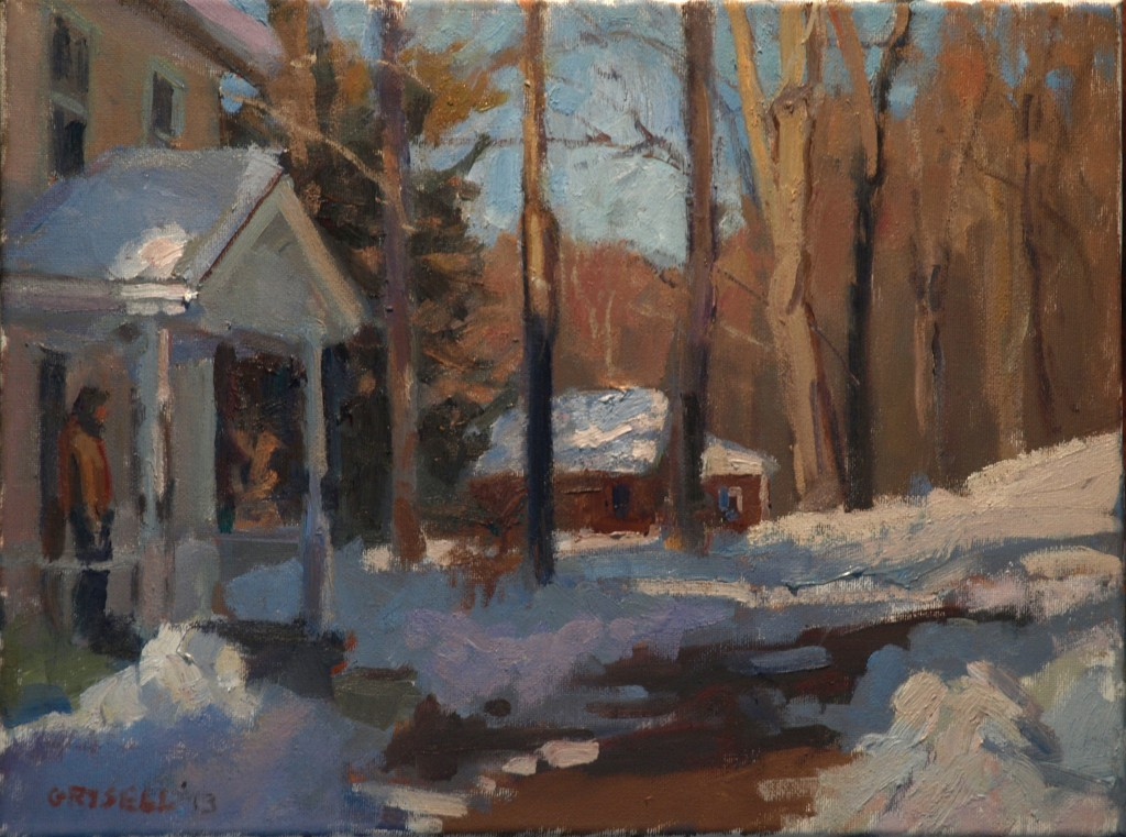 Snowy Dooryard, Oil on Canvas, 12 x 16 Inches, by Susan Grisell, $275