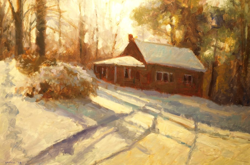 Snowy Driveway, Oil on Canvas, 24 x 36 Inches, by Susan Grisell, $1500