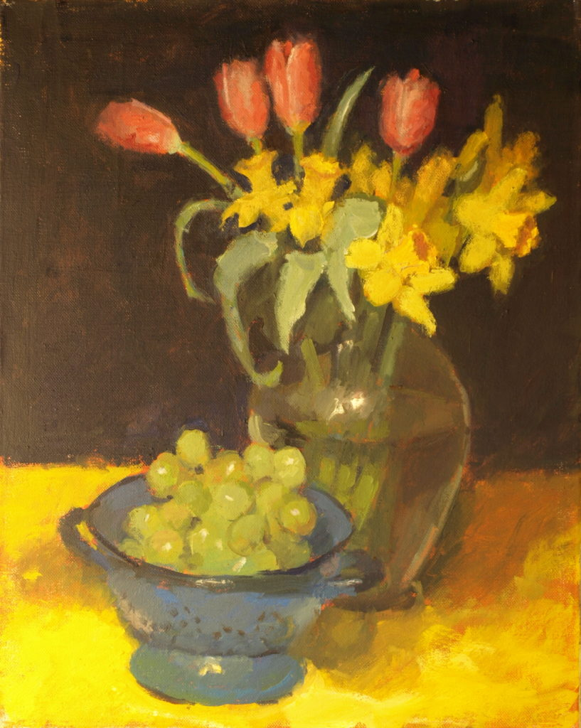 Spring Blooms and Grapes, Oil on Canvas, 20 x 16 Inches, by Susan Grisell, $550