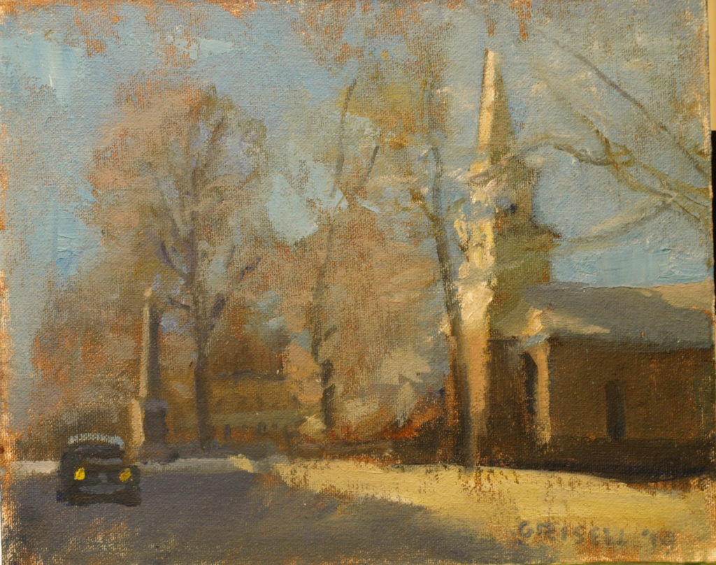 St Andrew in Kent, Oil on Canvas on Panel, 8 x 10 Inches, by Susan Grisell, $200