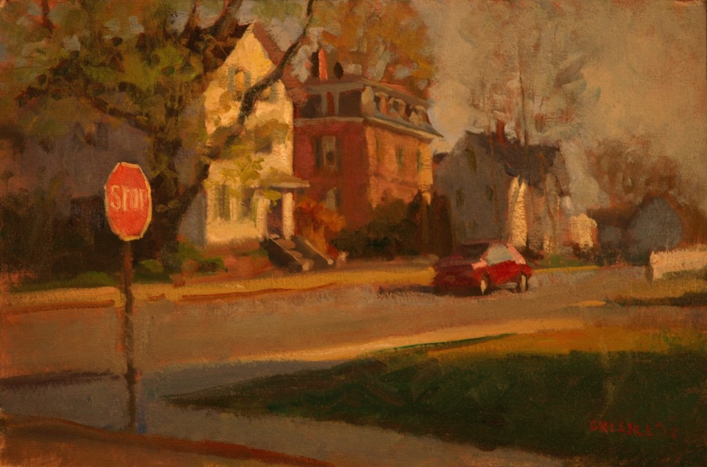 Stop Sign, Oil on Canvas on Panel, 12 x 18 Inches, by Susan Grisell, $275