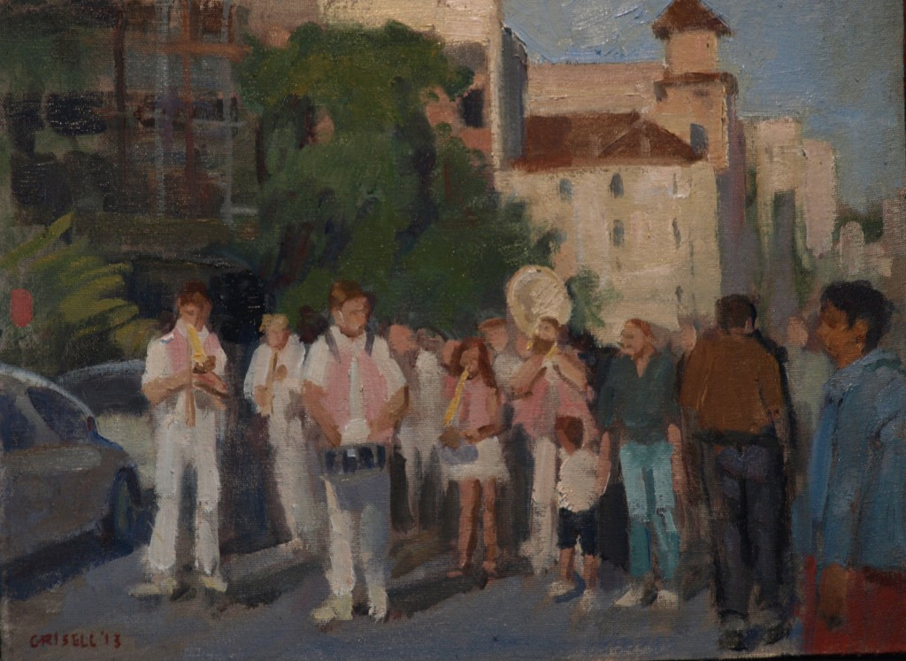 Straggly Parade -- Paris, Oil on Canvas on Panel, 12 x 16 Inches, by Susan Grisell, $275