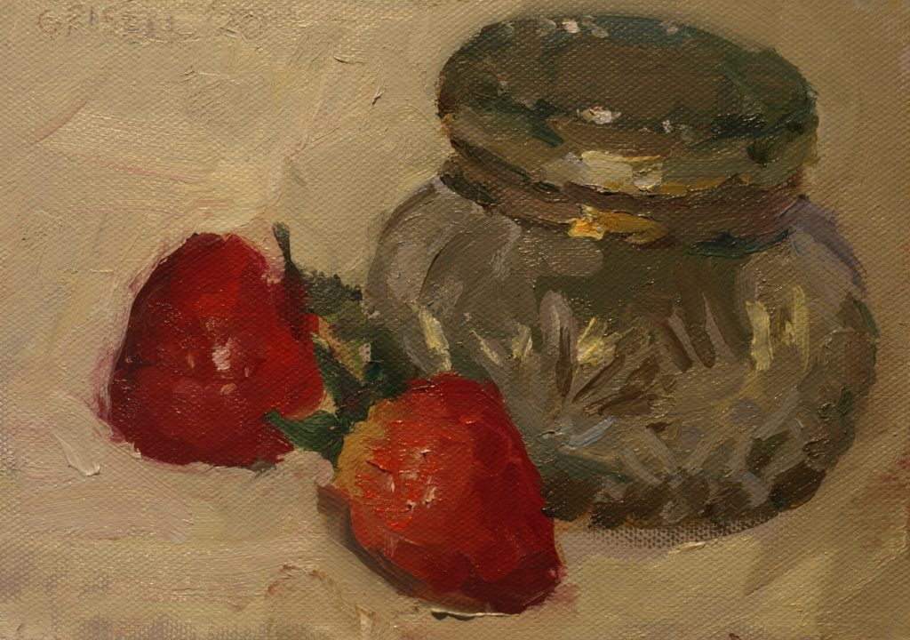 Strawberries, Oil on Canvas on Panel, 6 x 8 Inches, by Susan Grisell, $200