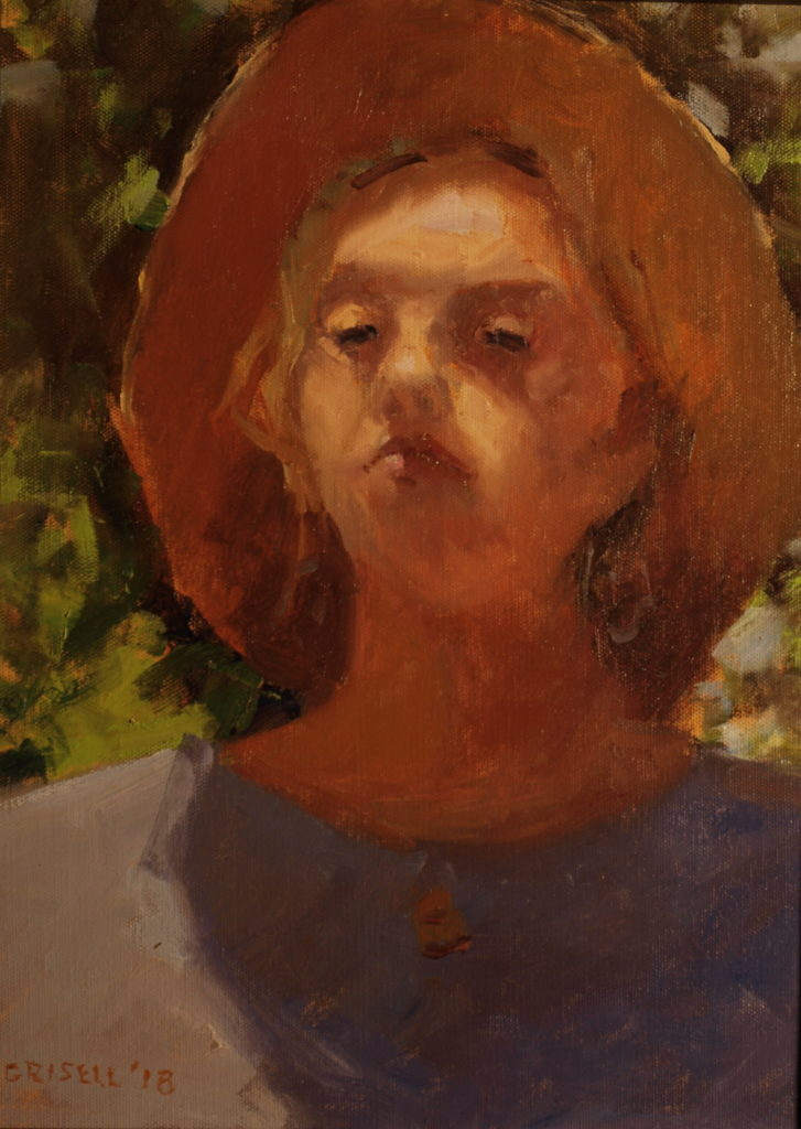 Study in Sunlight, Oil on Panel, 16 x 12 Inches, by Susan Grisell, $300