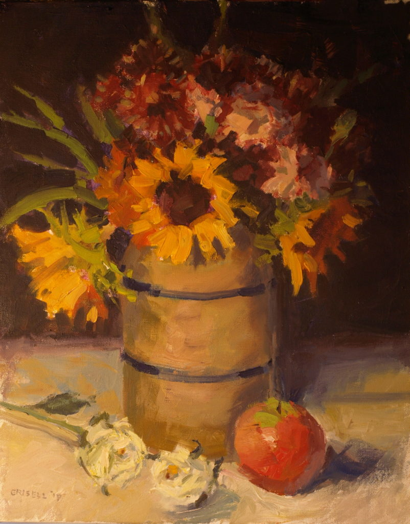 Sunflowers and Apple, Oil on Canvas, 20 x 16 Inches, by Susan Grisell, $550