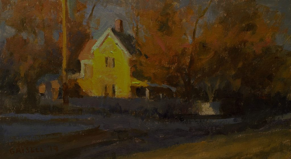 Sunlit House in Kent, Oil on Canvas on Panel, 9 x 16 Inches, by Susan Grisell, $250
