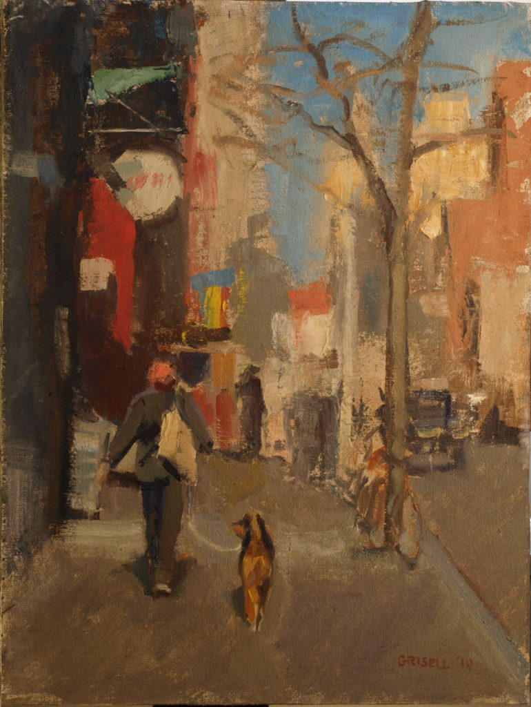 Sunny Day in the City, Oil on Canvas on Panel, 16 x 12 Inches, by Susan Grisell, $300