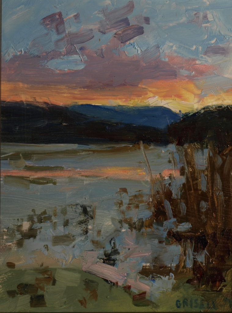 Sunset at Hatch Pond, Oil on Panel, 10 x 8 Inches, by Susan Grisell, $200