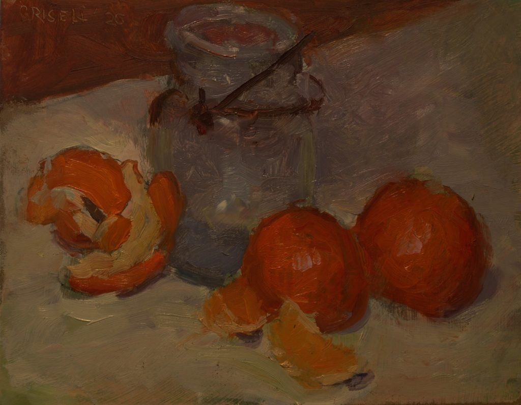 Tangerines and Ball Jar, Oil on Panel, 8 x 10 Inches, by Susan Grisell, $200