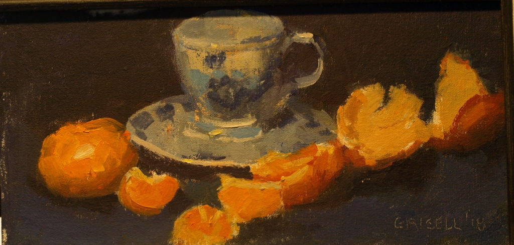 Tangerines and Teacup, Oil on Canvas on Panel, 6 x 12 Inches, by Susan Grisell, $200