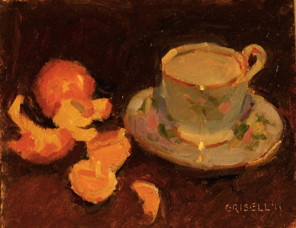 Teacup and Clementines, Oil on Canvas on Panel, 8 x 10 Inches, by Susan Grisell, $150