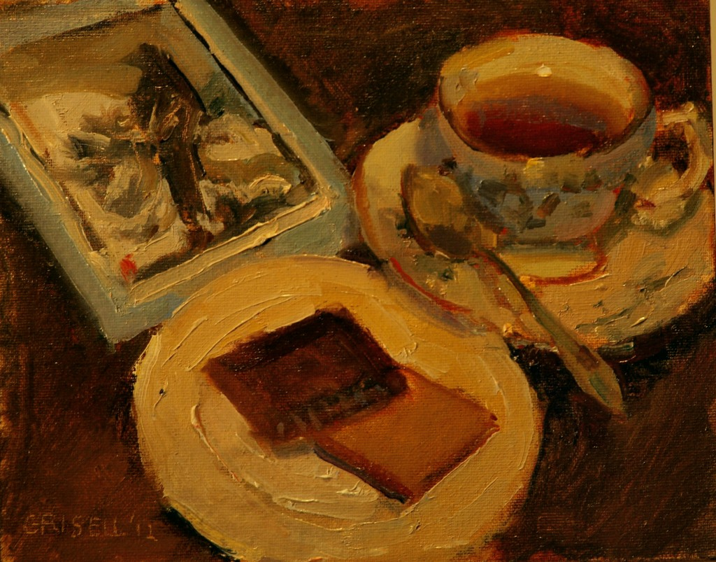 Teatime, Oil on Canvas on Panel, 8 x 10 Inches, by Susan Grisell, $150