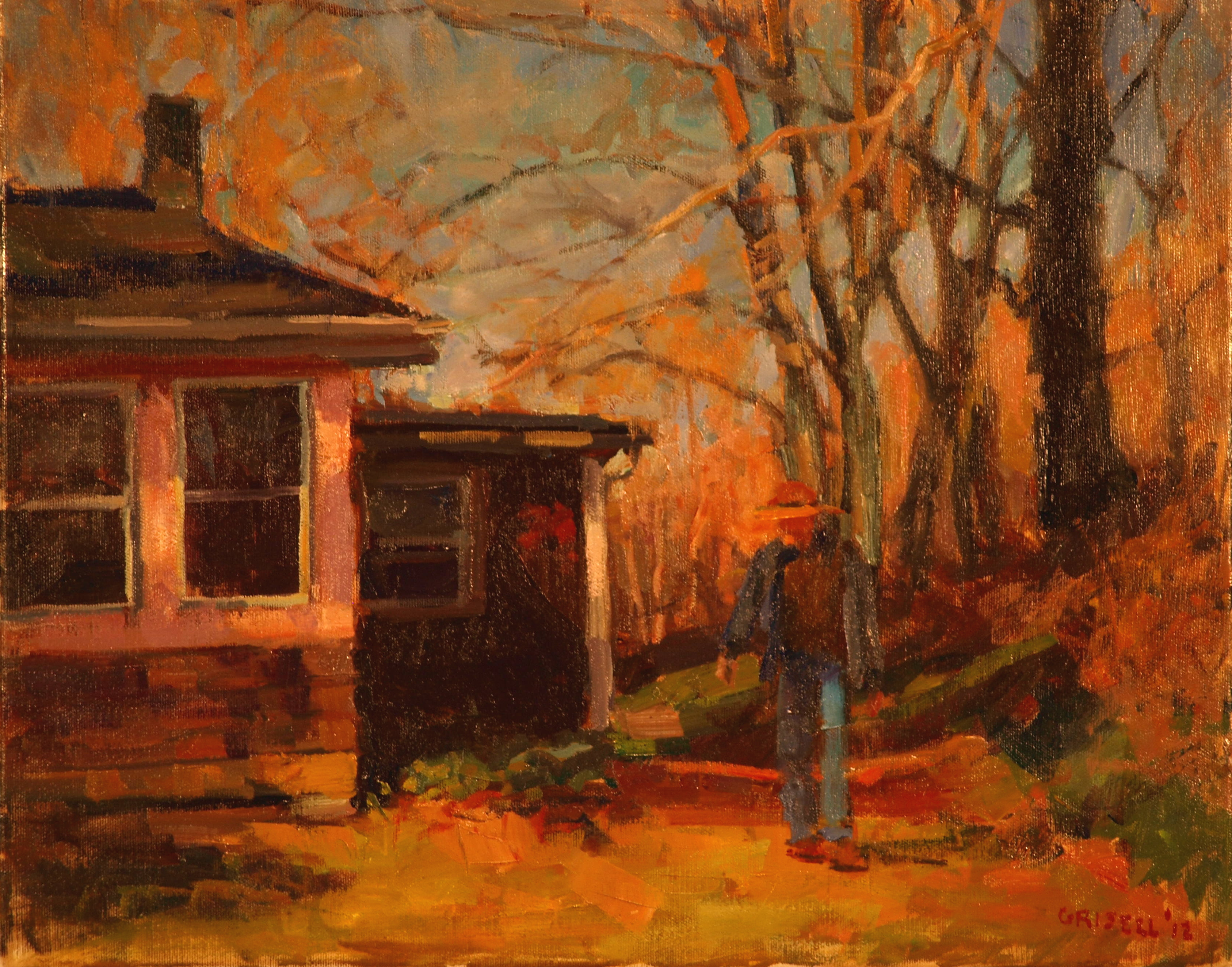The Back Yard, Oil on Canvas, 16 x 20 Inches, by Susan Grisell, $450