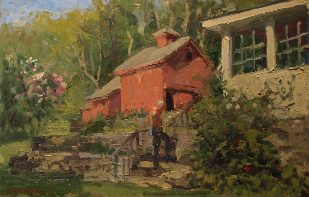 The Backyard, Oil on Canvas on Panel, 12 x 18 Inches, by Susan Grisell, $325