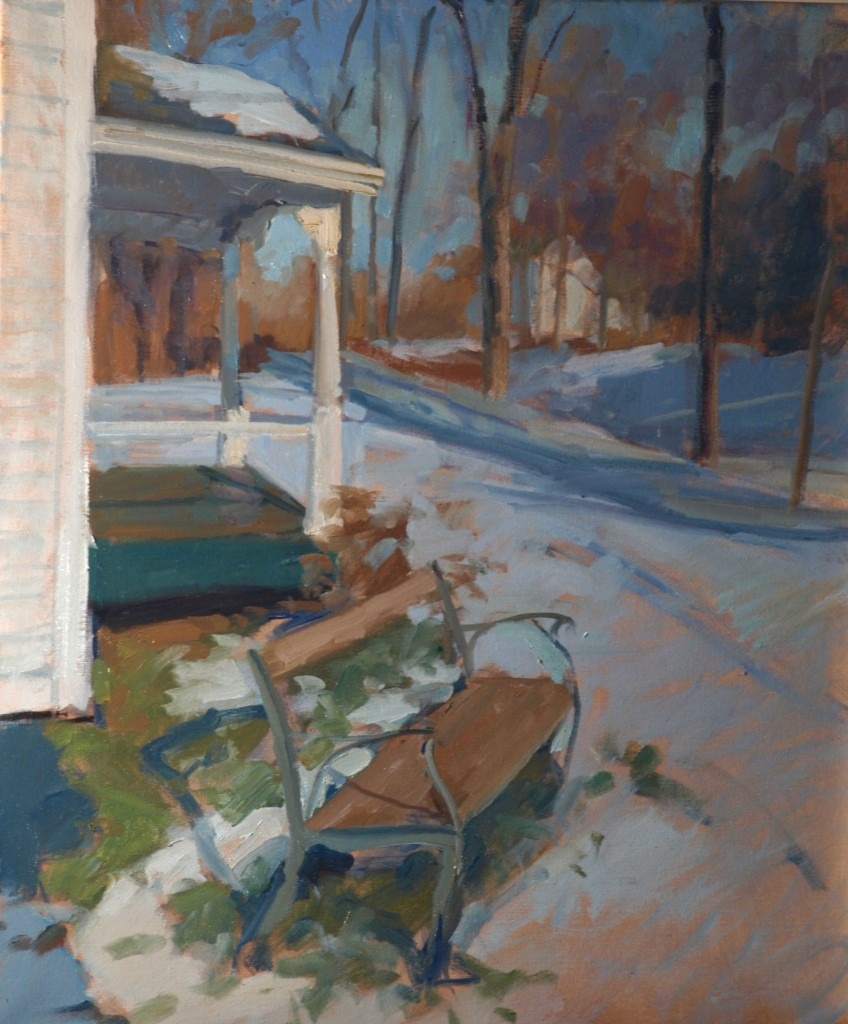 The Bench in Winter, Oil on Canvas, 24 x 20 Inches, by Susan Grisell, $650