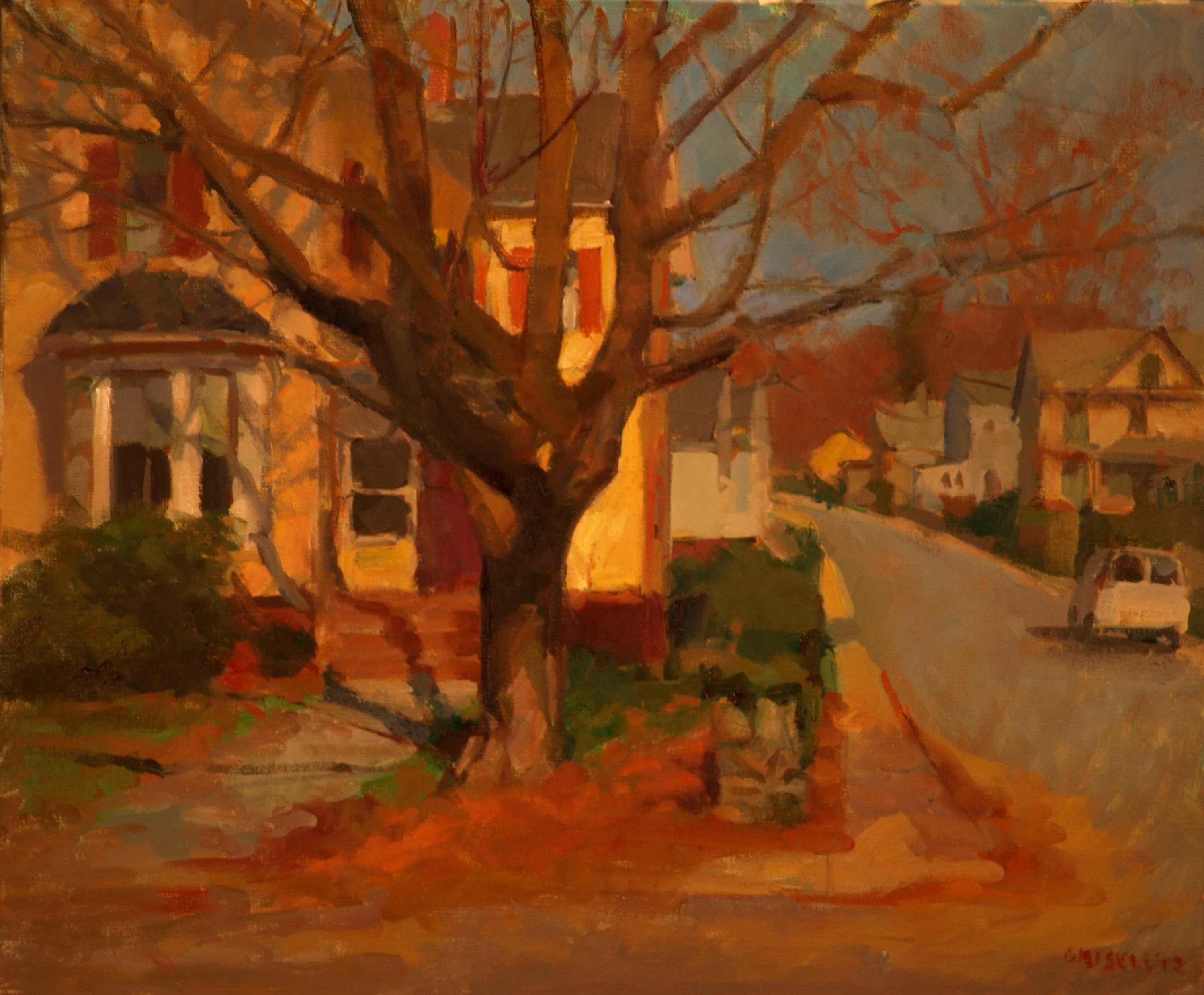 The Corner House, Oil on Canvas, 20 x 24 Inches, by Susan Grisell, $650