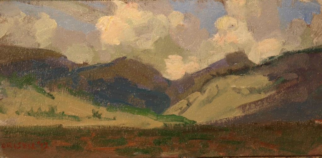 The Gray Hills, Oil on Canvas on Panel, 6 x 12 Inches, by Susan Grisell, $150
