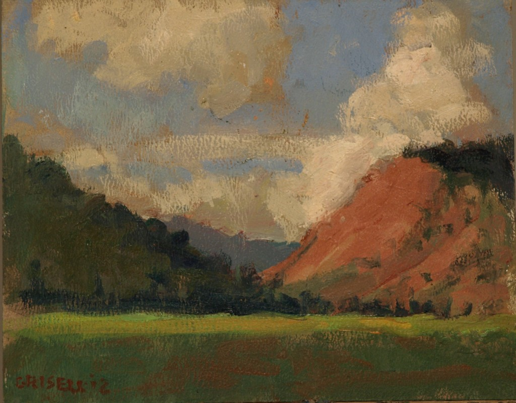 The Red Hills, Oil on Canvas on Panel, 8 x 10 Inches, by Susan Grisell, $150