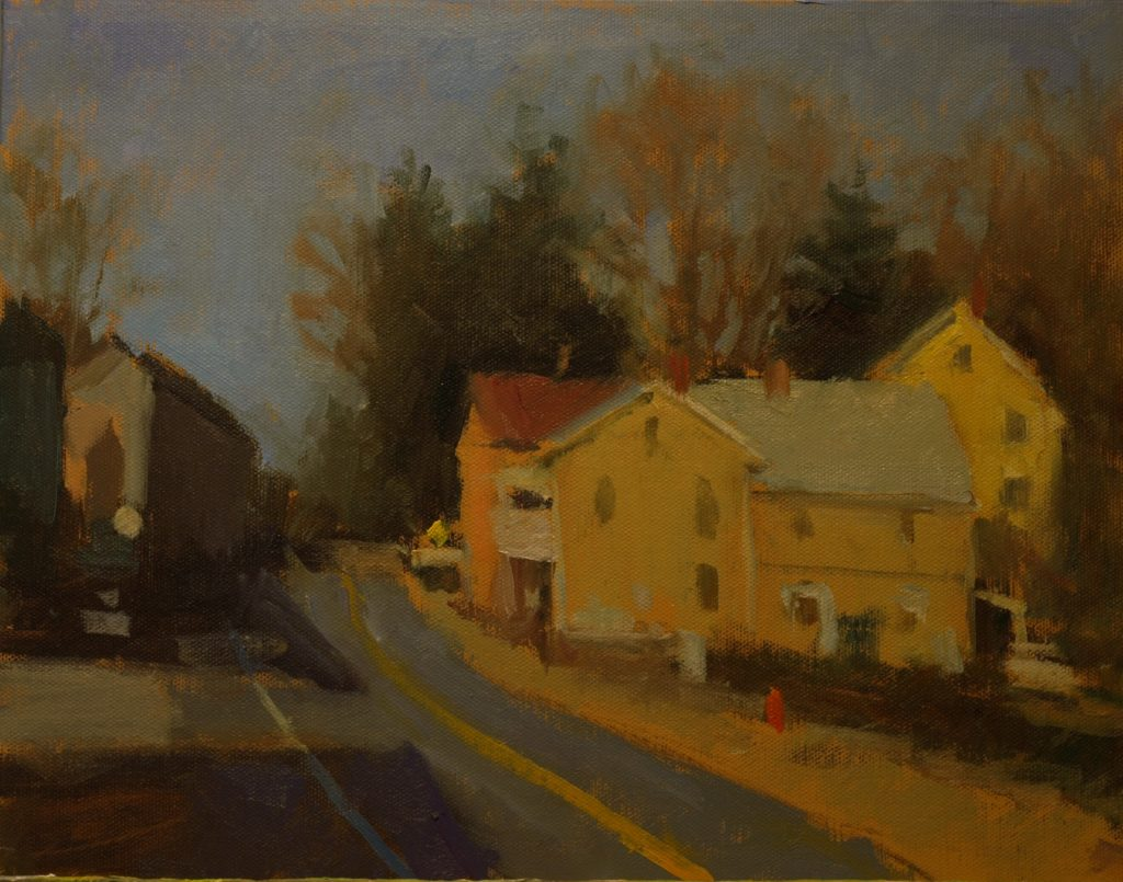 The Road Out of Town, Oil on Canvas on Panel, 11 x 14 Inches, by Susan Grisell, $300
