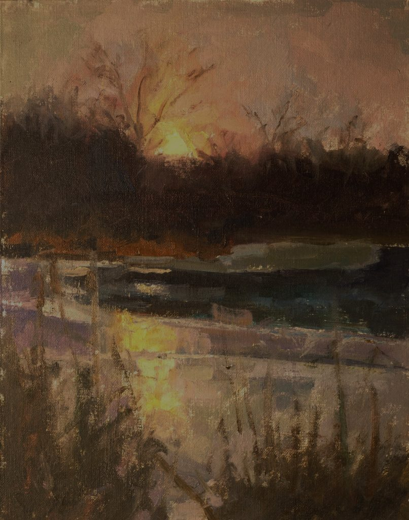 The Sinking Sun, Oil on Canvas on Panel, 14 x 11 Inches, by Susan Grisell, $300
