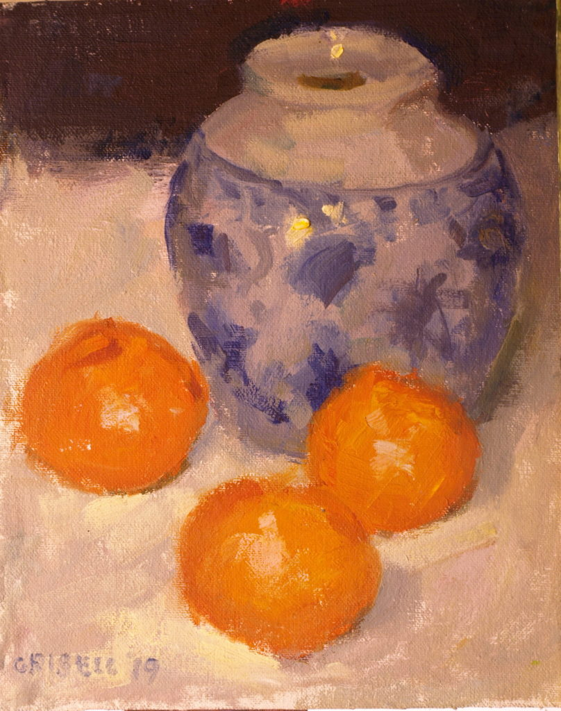 Three Tangerines, Oil on Canvas on Panel, 10 x 8 Inches, by Susan Grisell, $200