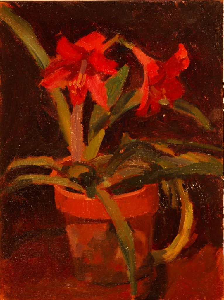 Twin Blossoms, Oil on Canvas on Panel, 16 x 12 Inches, by Susan Grisell, $275