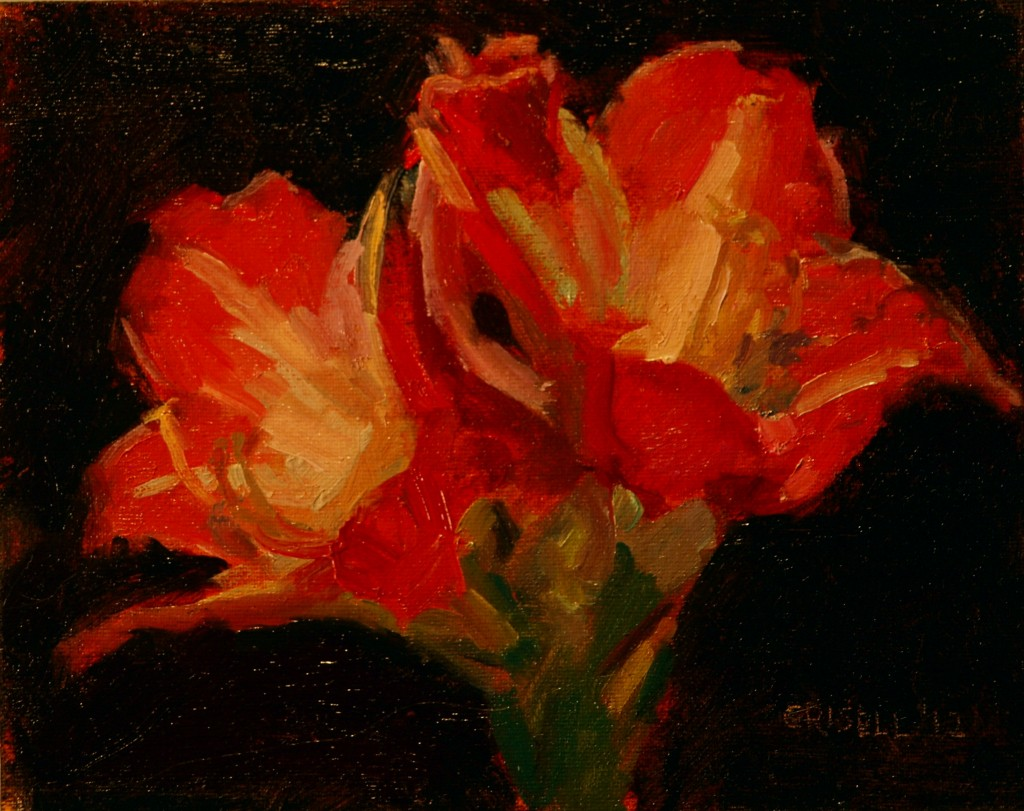 Twin Blossoms, Oil on Canvas on Panel, 8 x 10 Inches, by Susan Grisell, $150