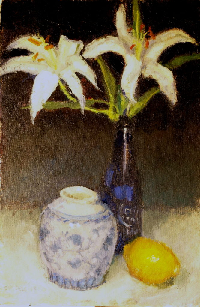 Two Lilies, Oil on Canvas on Panel, 18 x 12 Inches, by Susan Grisell, $300
