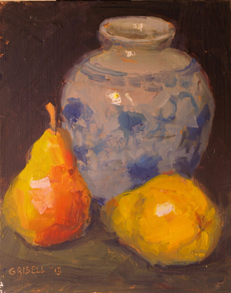 Two Pears and a Pot, Oil on Panel, 10 x 8 Inches, by Susan Grisell, $200