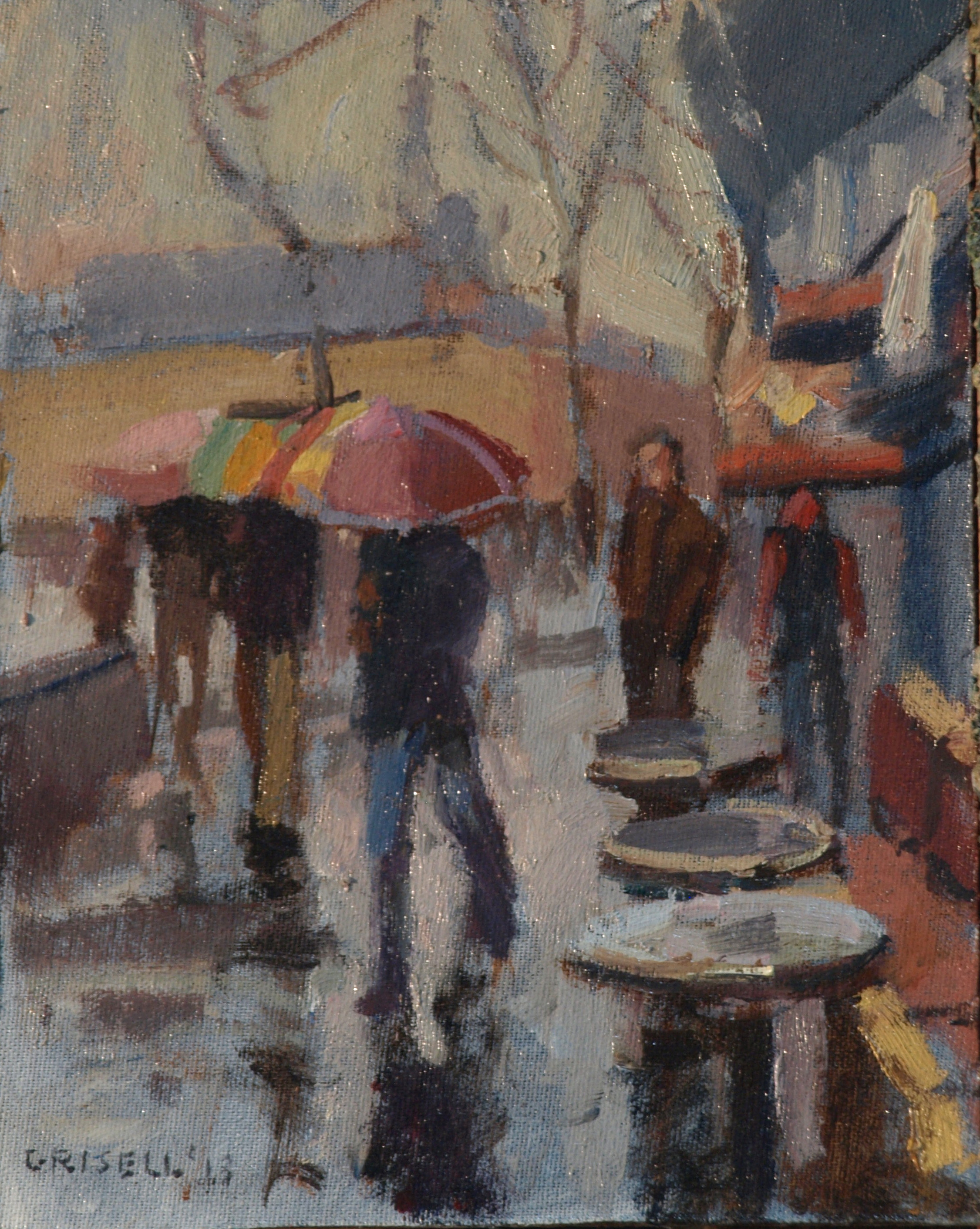 Umbrellas -- France, Oil on Canvas on Panel, 10 x 8 Inches, by Susan Grisell, $150