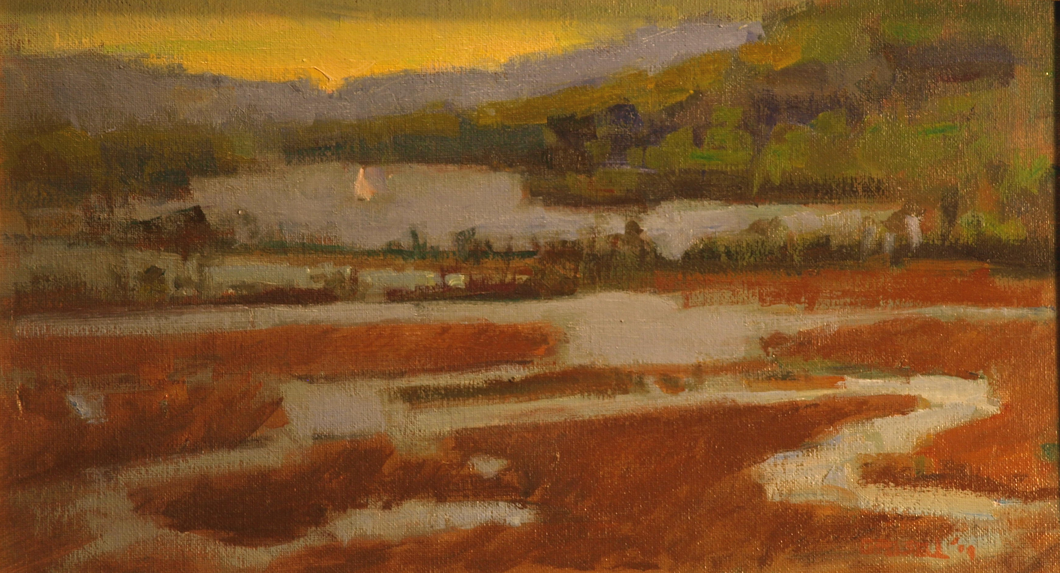 View from Boscobel, Oil on Canvas on Panel, 9 x 16 Inches, by Susan Grisell, $250