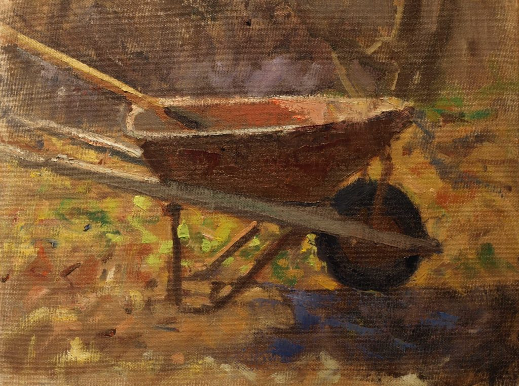 Wheelbarrow, Oil on Canvas on Panel, 11 x 14 Inches, by Susan Grisell, $300