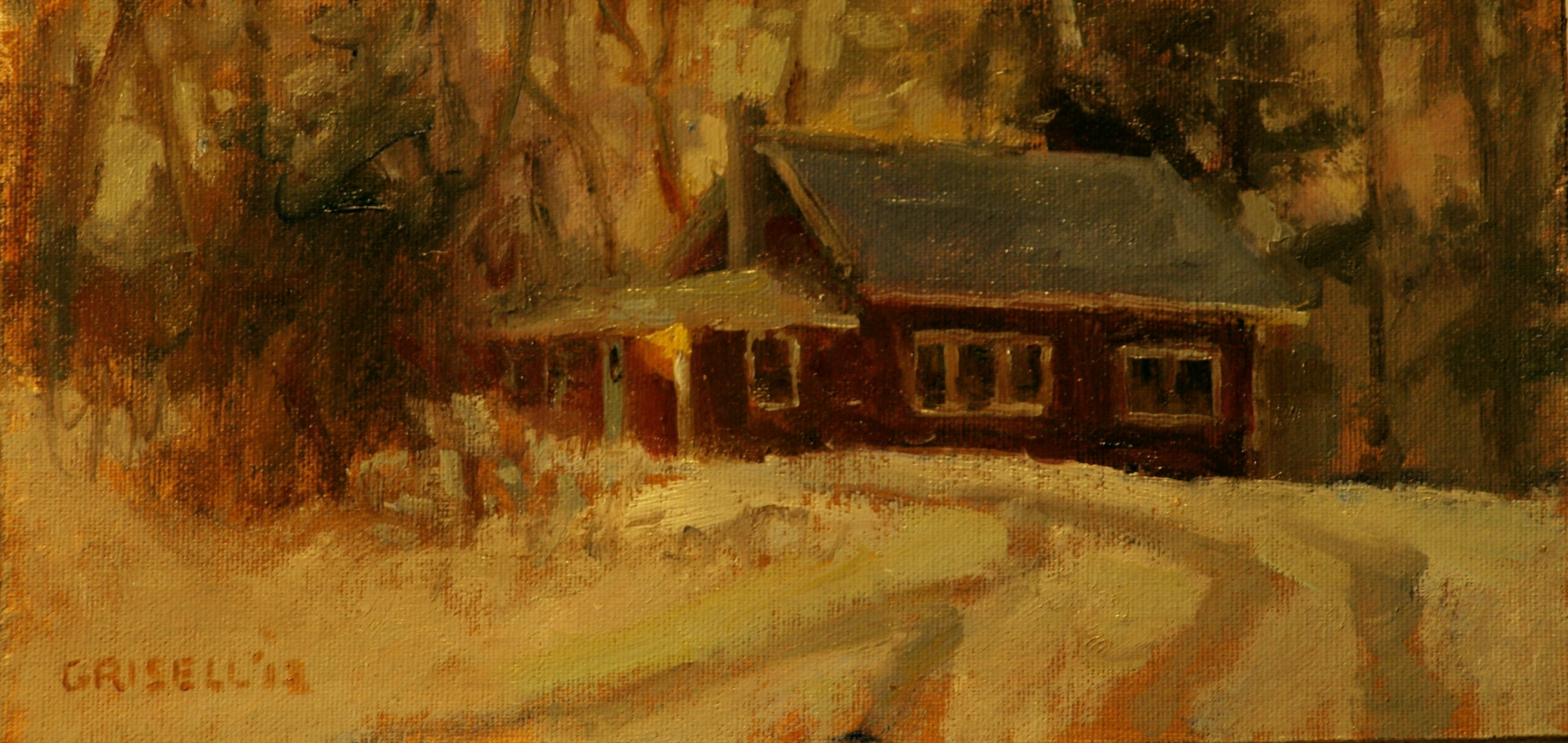 Wheeltracks - Twighlight, Oil on Canvas on Panel, 6 x 12 Inches, by Susan Grisell, $150