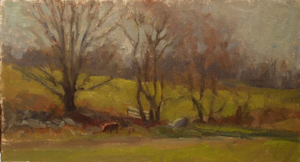 Where Pastures Meet, Oil on Canvas on Panel, 9 x 16 Inches, by Susan Grisell, $250