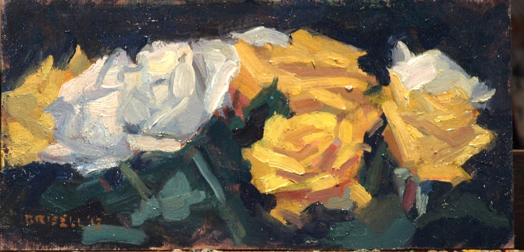 White and Yellow, Oil on Canvas on Panel, 6 x 12 Inches, by Susan Grisell, $150