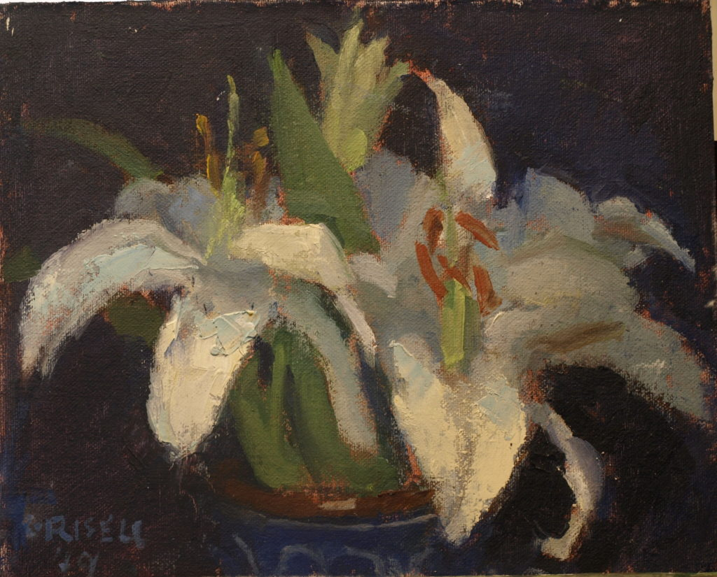White Lilies, Oil on Canvas on Panel, 8 x 10 Inches, by Susan Grisell, $200