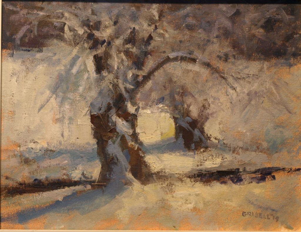 Willows in Snow, Oil on Panel, 11 x 14 Inches, by Susan Grisell, $275